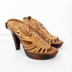 Frye Joy Huarache Sandals Stacked Heels Boho
